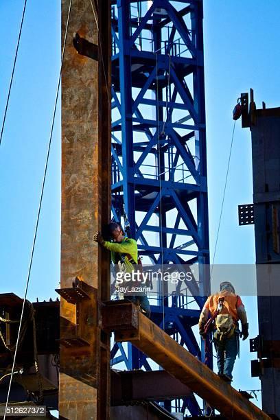 Stahl und Bügeleisen Arbeitnehmer zu Tragender Balken, Manhattan, Neu York Stadt