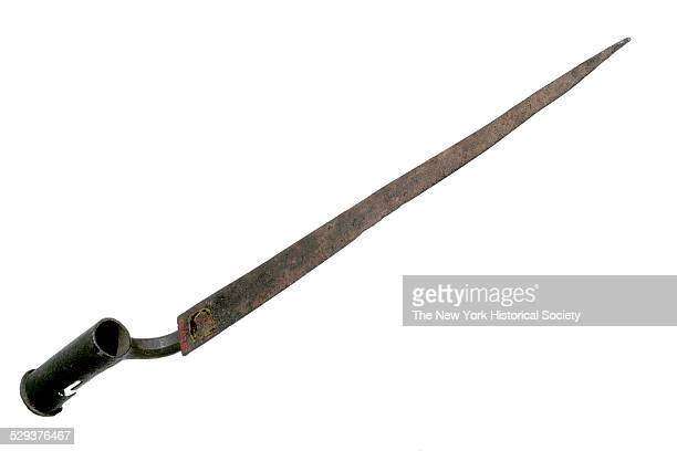 Steel angular bayonet with triangular blade and cylindrical socket with zigzag mortise 1785 According to the accession records this bayonet is the...