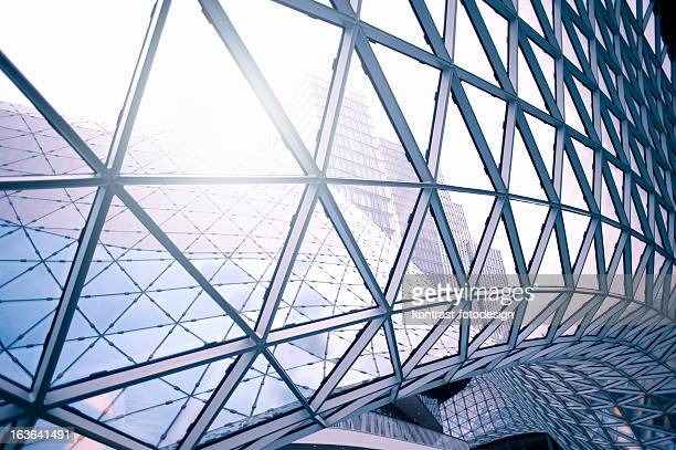 Steel architecture around clear glass windows