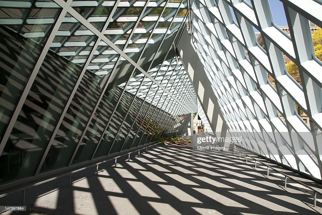 Steel atrium and shadows at Seattle Public Library