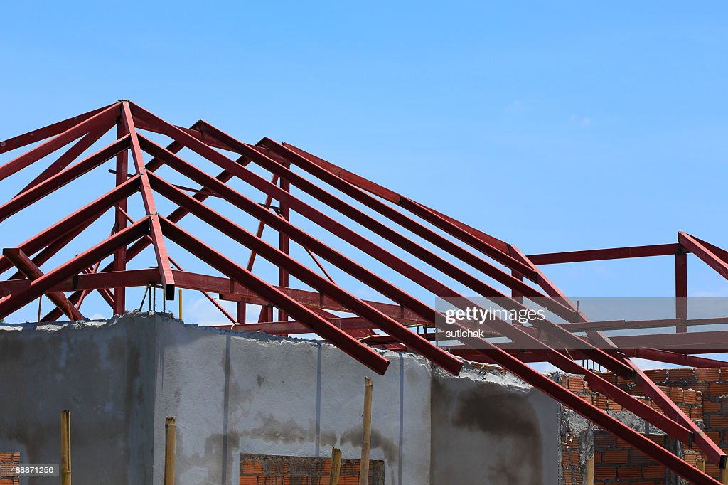 Steel Beam On Roof Building Construction House : Stock Photo