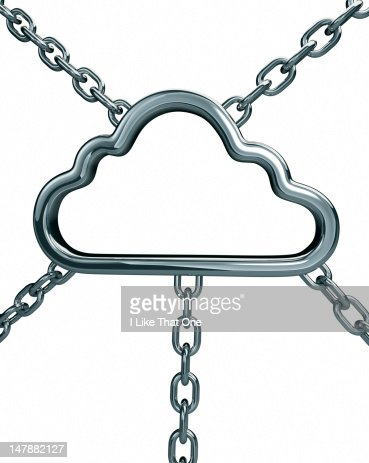 Steel cloud icon linked with two steel chains
