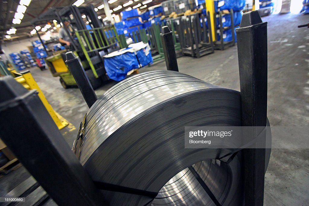 Steel coil stock for band saw blades sit at DoALL Company's Contour Saws Inc. facility in Des Plaines, Illinois, U.S., on Tuesday, Aug. 28, 2012. The U.S. Census Bureau is scheduled to release factory orders data on Aug. 31. Photographer: Tim Boyle/Bloomberg via Getty Images