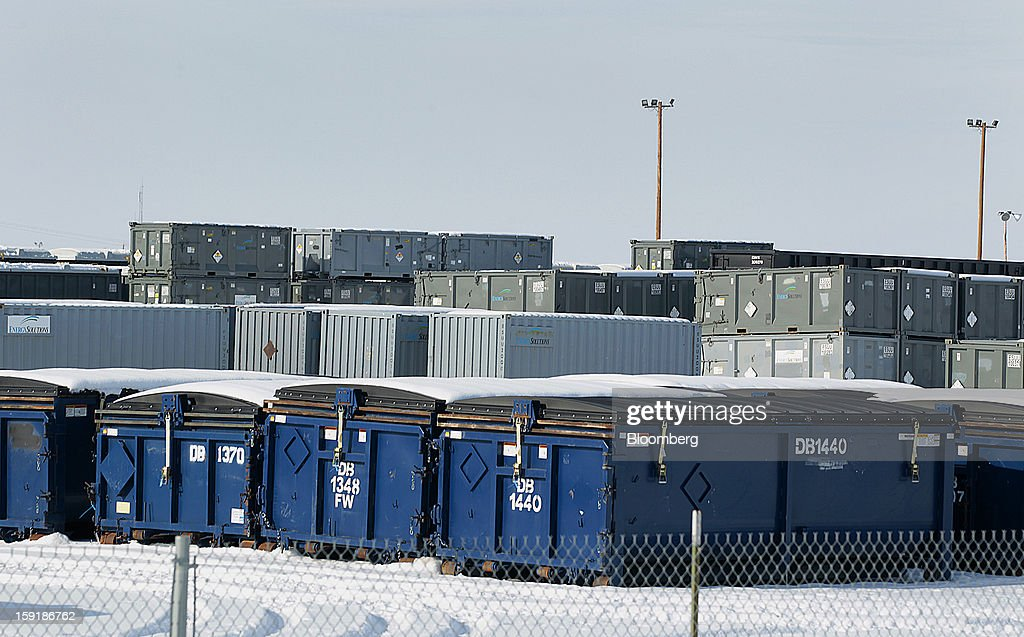 Steel containers full of waste wait to processed at the EnergySolutions Inc. low level radioactive waste disposal site in Clive, Utah, U.S., on Wednesday, Jan. 9, 2013. EnergySolutions Inc. obtained a commitment from Morgan Stanley to provide a senior secured credit facility to back its $1.1 billion buyout by Energy Capital Partners LLC. Photographer: George Frey/Bloomberg via Getty Images
