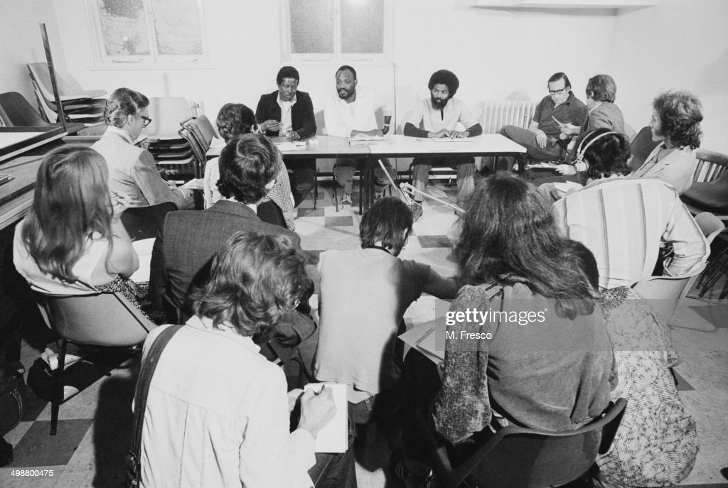 Steel drummer and chairman of the Notting Hill Carnival Development Committee Selwyn Baptiste at a press conference London 11th August 1977