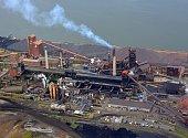 aerial view of a steel plant in Hamilton Ontario, Canada