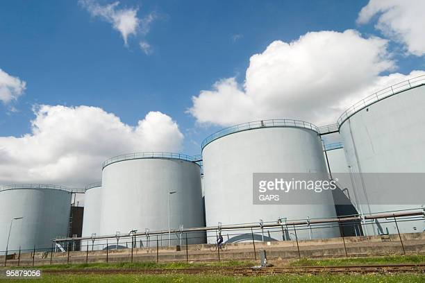 steel fuel storage tanks at an oil refinery