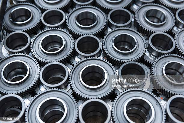 Steel gear wheels in production in engineering factory