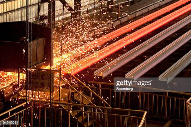 Steel Hbeams are cut at the China Oriental Group Co steel plant in Tangshan Hebei province China on Saturday Aug 29 2009 China Oriental Group backed...