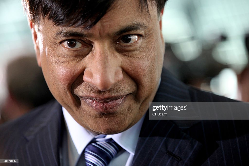 Steel magnate Lakshmi Mittal speaks to the press following a press conference to announce the winning design for a visitor attraction to be placed in...