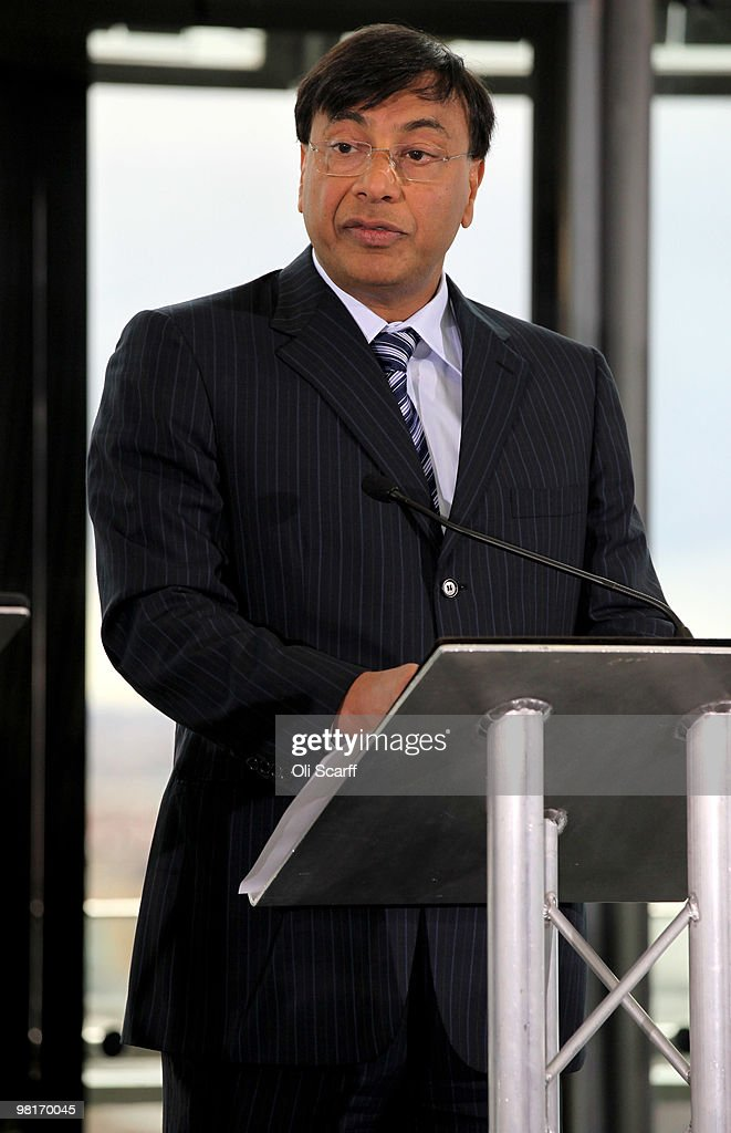 Steel magnate Lakshmi Mittal talks during a press conference to announce the winning design for a visitor attraction to be placed in the 2012 Olympic...