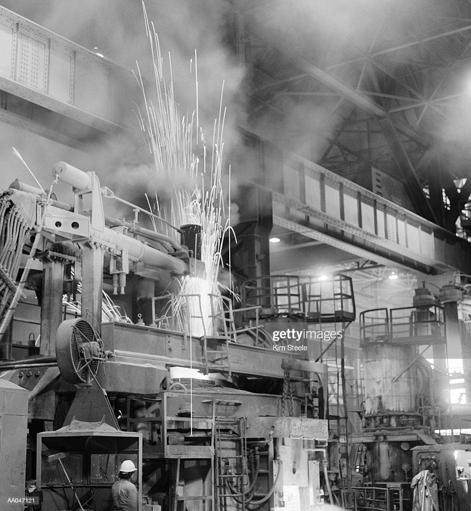 Steel mill, interior (B&W) : Stock Photo