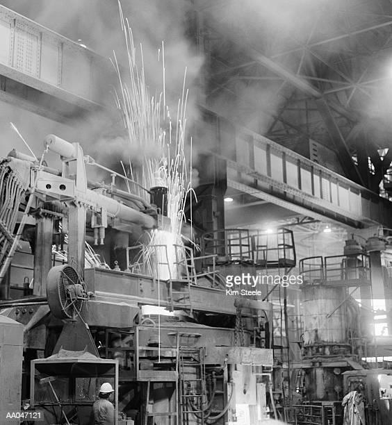 Steel mill, interior (B&W)