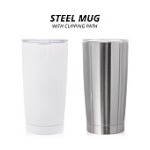 Steel mug isolated on white background. Template of water container for design. ( Clipping path )