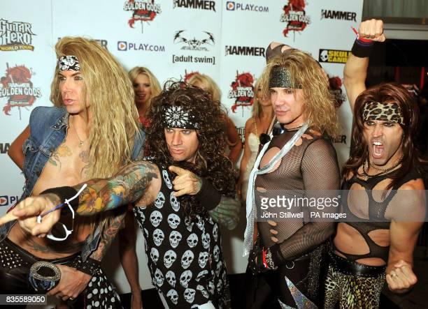 Steel Panther arrive at the Indigo concert venue for the Metal Hammer Golden Gods awards at the O2 Arena in Greenwich south East London