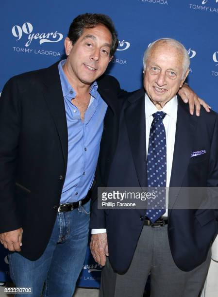 Steel Partners CEO Warren Lichtenstein and Dodgers legend Tommy Lasorda at Tommy Lasorda's 90th Birthday Celebration at The Getty Center on September...