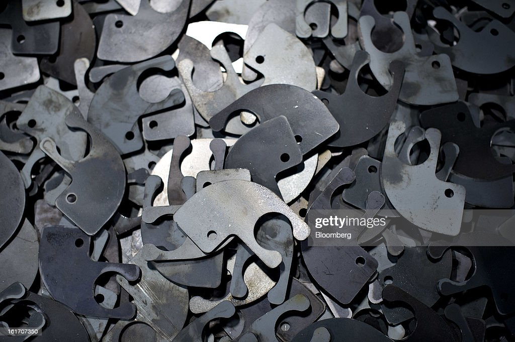 Steel parts sit in a production bin at the Giese Manufacturing Co. in Dubuque, Iowa, U.S., on Thursday, Feb. 14, 2013. The U.S. Federal Reserve is schedule to release industrial productions figures on Feb. 15. Photographer: Daniel Acker/Bloomberg via Getty Images