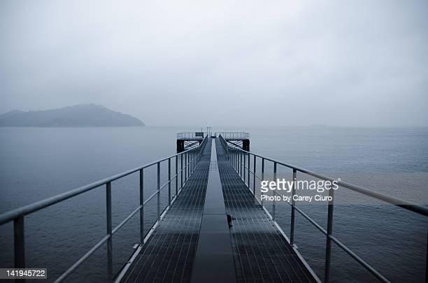 Steel pier on rainy day