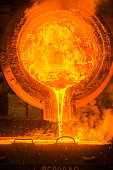 Hot steel pouring at the steel plant