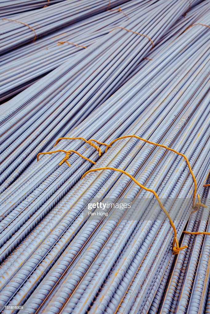 Steel rods used for construction : Stock Photo
