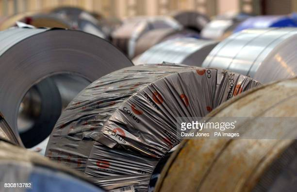 Steel rolls await shipement at the 'Corus' plant in Wednesfield near Wolverhampton on the day that a union leader warned that more than 5000 jobs...