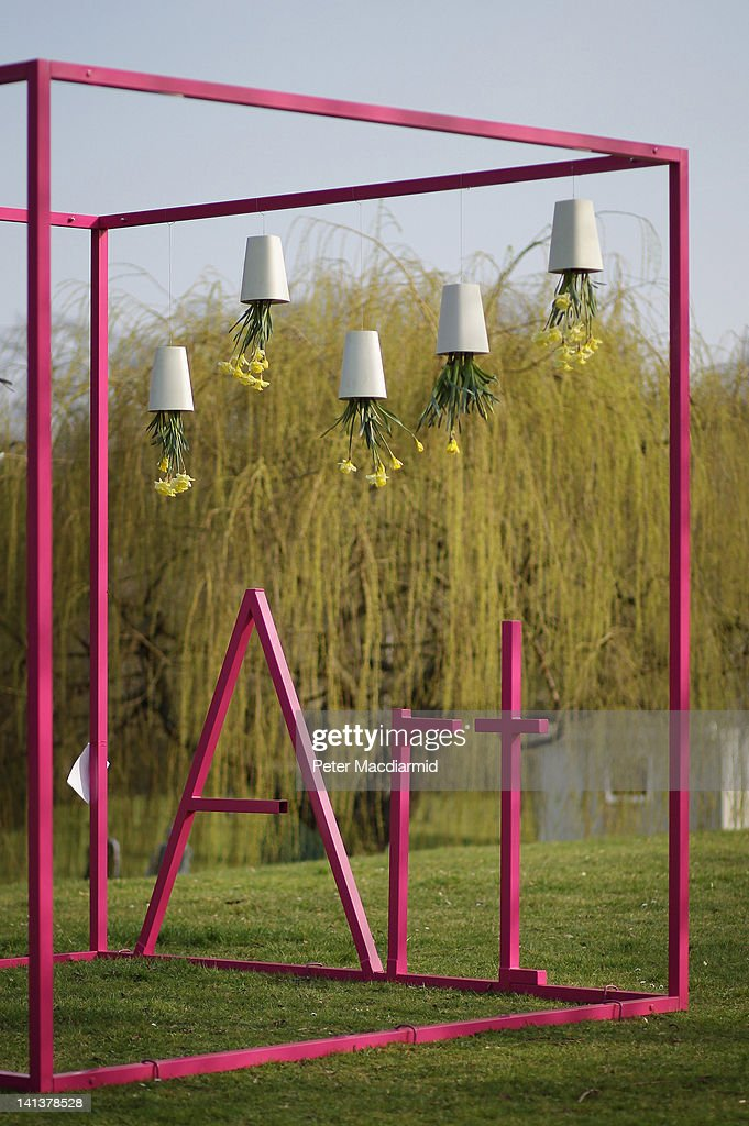 A steel sculpture greets visitors to The Affordable Art Fair on March 15, 2012 in London, England. 120 galleries are displaying works costing from £40 - £4000. Photography, paintings, prints and sculptures are on sale from 15-18th March 2012.