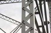 beams metallic structure iron architecture bridge detail