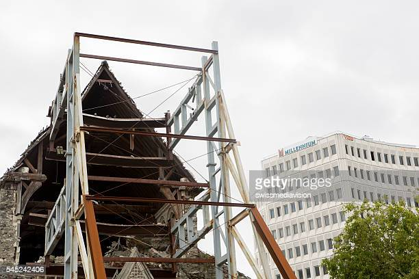 Steel structure supports the facade of the Christchurch cathedral