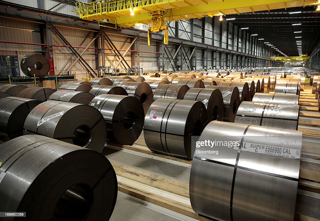 Steel waits to be processed on the Continuous Annealing Line (CAL) at the PRO-TEC Coating Co. facility in Leipsic, Ohio, U.S., on Monday, May 13, 2013. PRO-TEC Coating Co. was established as a joint venture in 1990 by two global leaders in steel technology and production: United States Steel Corp. and Kobe Steel Ltd. of Japan. Photographer: Jeff Kowalsky/Bloomberg via Getty Images