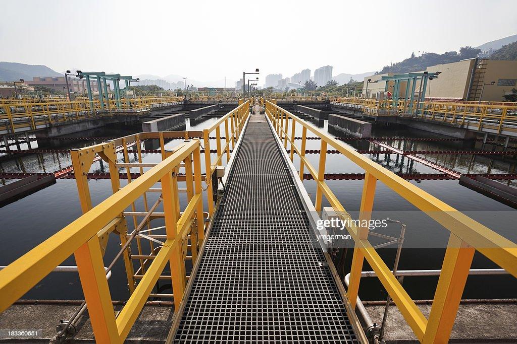 Steel walkway in a sewage treatment plant