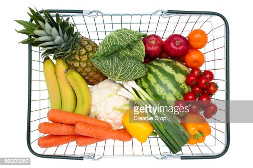 Steel wire shopping basket full of healthy food