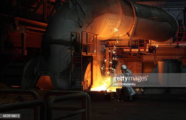 Steel worker working at the new blast furnace 8 at ThyssenKrupp Steel AG on January 28 in Duisburg Germany ThyssenKrupp is one of the world's largest...