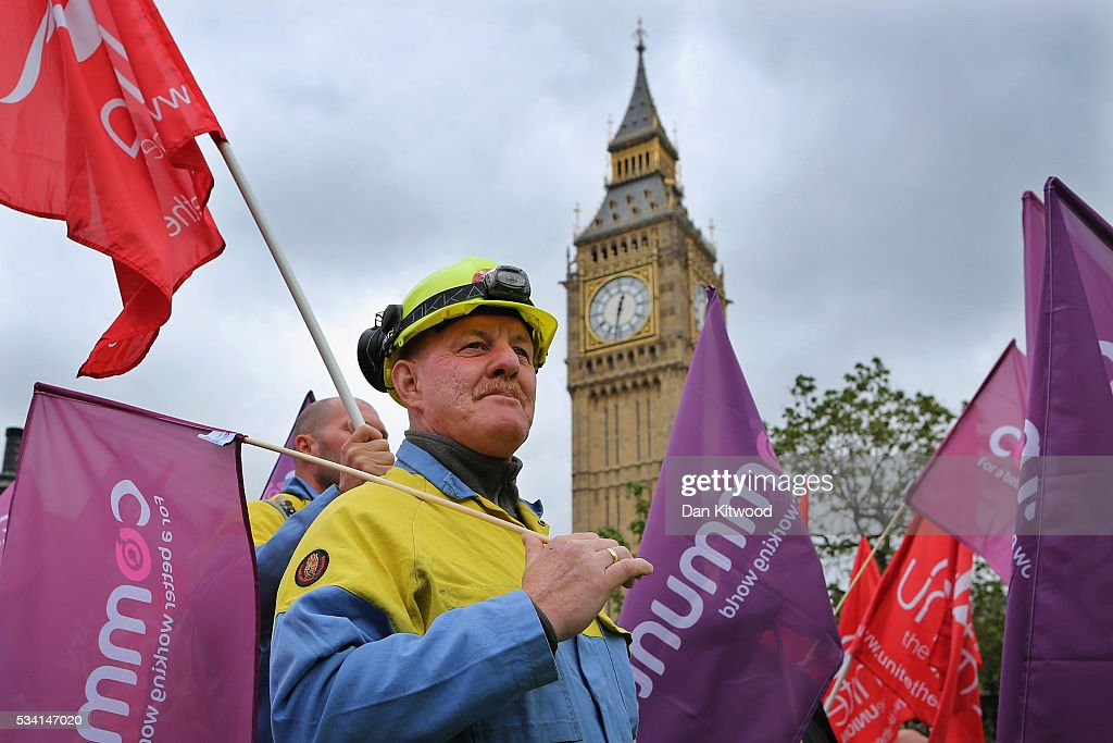 Steel workers march past Big Ben and the Houses of Parliament on May 25, 2016 in London, England. Steelworkers marched through Westminster today to highlight the crisis in the steel industy. A shortlist of bidders is currently being drawn up for the UK assets of Tata Steel.