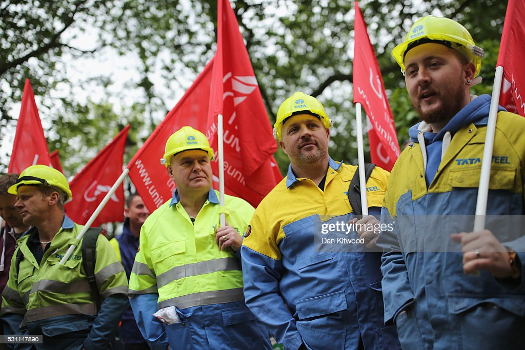 Steel workers prepare to march towards the Houses of Parliament on May 25, 2016 in London, England. Steelworkers marched through Westminster today to highlight the crisis in the steel industy. A shortlist of bidders is currently being drawn up for the UK assets of Tata Steel.
