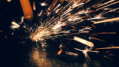 Steel workshop with sparks