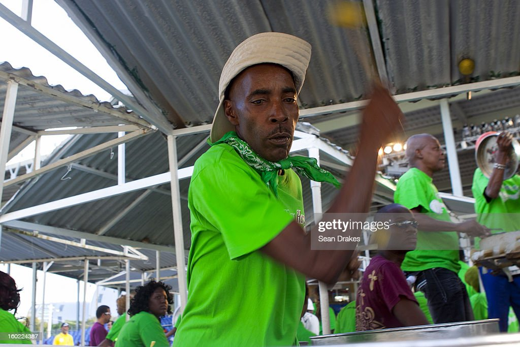 A steelband musician performs at Panorama semi-finals at Queen's Park Savannah in Port of Spain, Trinidad and Tobago on January 27, 2013. Carnival in Trinidad and Tobago is the most significant cultural and turist event. Today musical competitions make up a large part of the Carnival, where groups and individuals compete hard to win. Traditionally, musicians use drums, claves, and the steelpan, created in Trinidad and reported to be the only non-electrical instrument invented in the 20th century.