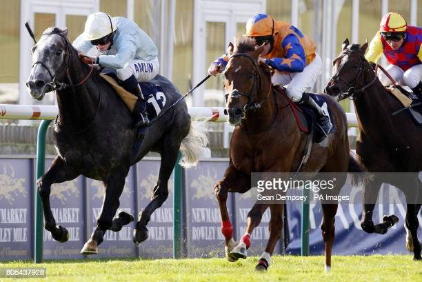 Steele Tango ridden by Liam Keniry goes on to win the Thurlow Nunn Standen Darley Stakes ahead of Glass Harmonium ridden by Ryan Moore and Palavicini...
