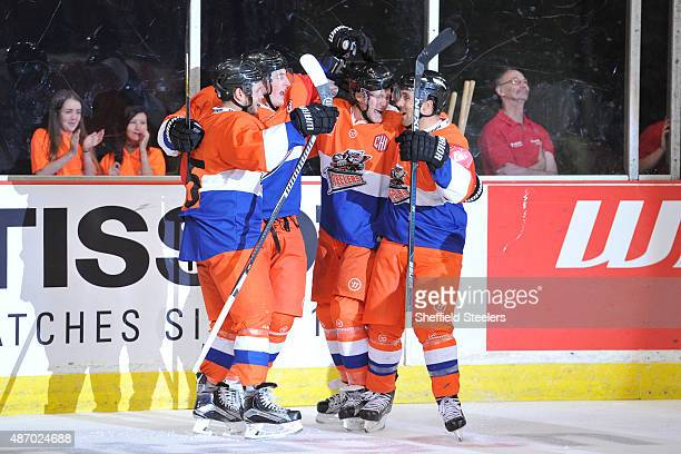 Steelers celebrate Levi Nelsonâs goal during the Champions Hockey League group stage game between Sheffield Steelers and Frolunda Indians on...