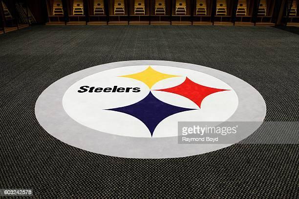 Steelers logo inside Steelers locker room inside Heinz Field home of the Pittsburgh Steelers and Pittsburgh Panthers football teams in Pittsburgh...