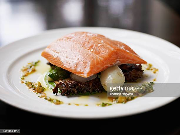 Steelhead, with sunchokes and maitake mushrooms