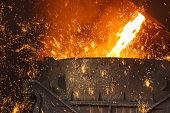 steelworks  Melt the molten steel background