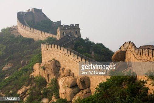 Steep incline of Ming Dynasty Great Wall. : Stock Photo