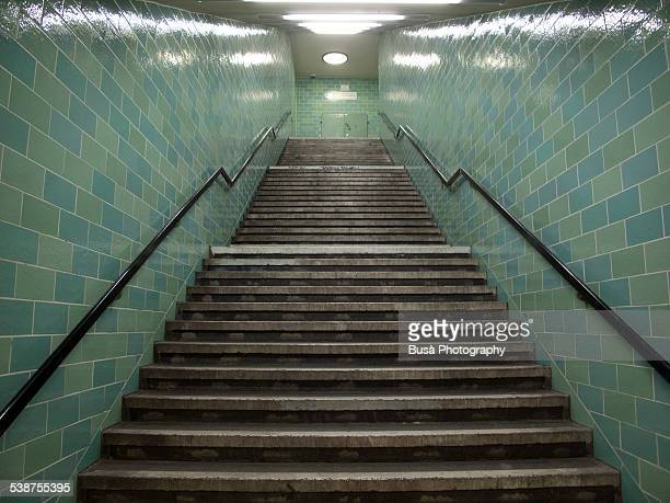 Steep staircase, Alexanderplatz subway station