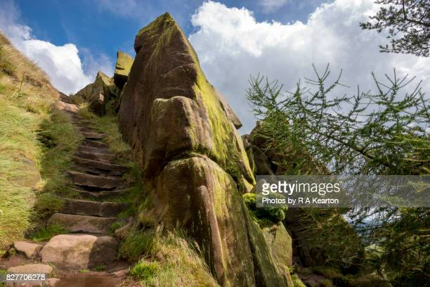 Steep steps at The Roaches, Staffordshire, England