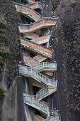 Close up of steps rising up Piedra el Penol, near Medellin, Colombia 2015