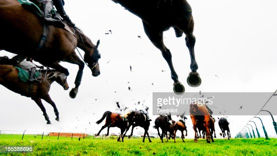 Steeplechase Jump and Horse Racing