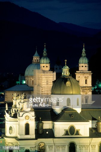 Steeples of Salzburg at night, Austria : Stock Photo