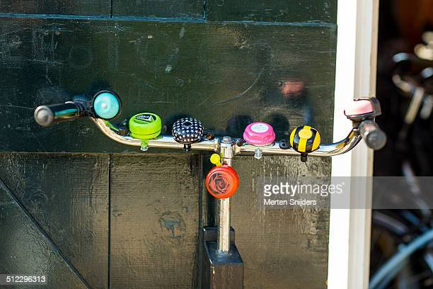 Steer with various colorful bicycle bells