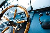 steering wheel on a luxury yacht.