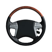 Steering wheel isolated on white background with clipping mask.